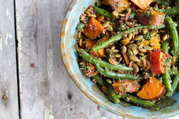 Sweet Potato Quinoa Salad with Kale Pesto