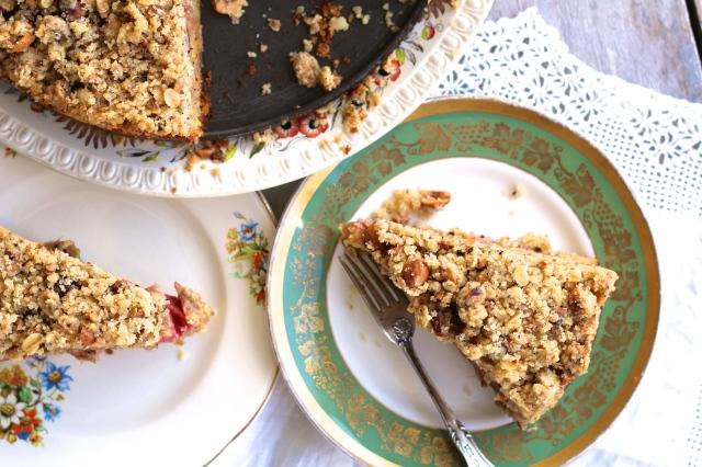 Rhuabrb & Hazelnut Crumble Cake
