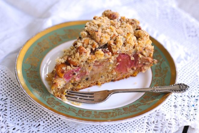 Slice of Rhubarb & Hazelnut Crumble Cake