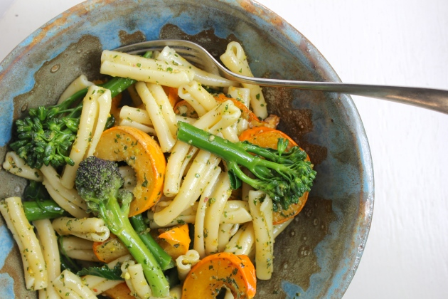 Pumpkin & Broccolini Pasta with Oregano Pesto