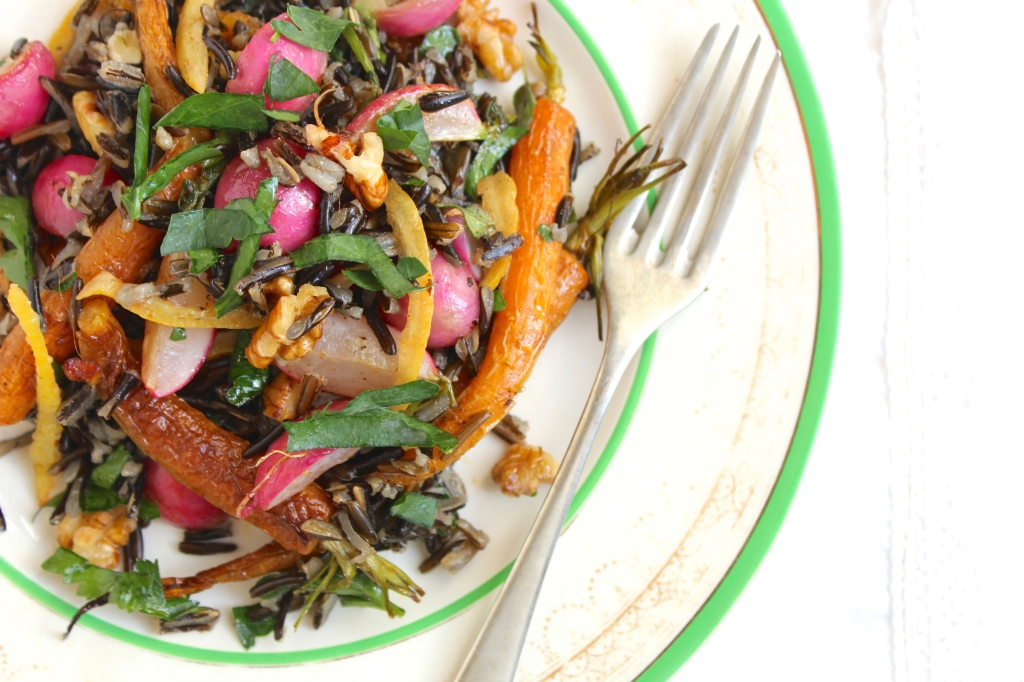 roasted-carrot-radish-preserved-lemon-wild-rice-salad-fork