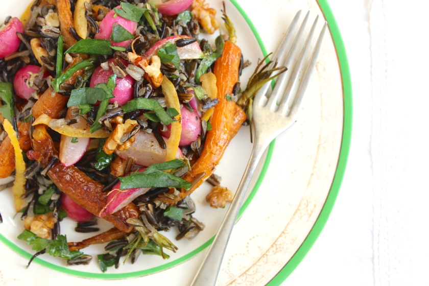 roasted-carrot-radish-preserved-lemon-wild-rice-salad-fork