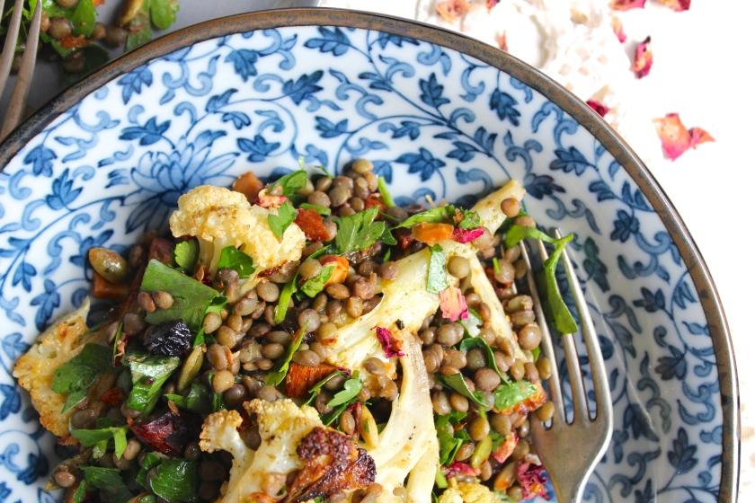roasted-cauliflower-lentil-salad-bowl