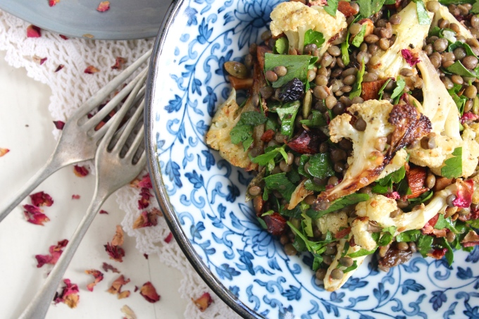 roasted-cauliflower-lentil-salad-forks