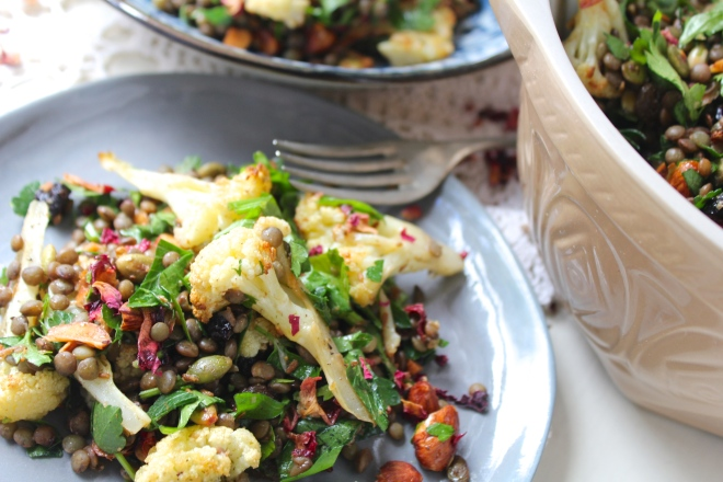 roasted-cauliflower-lentil-salad-sideview