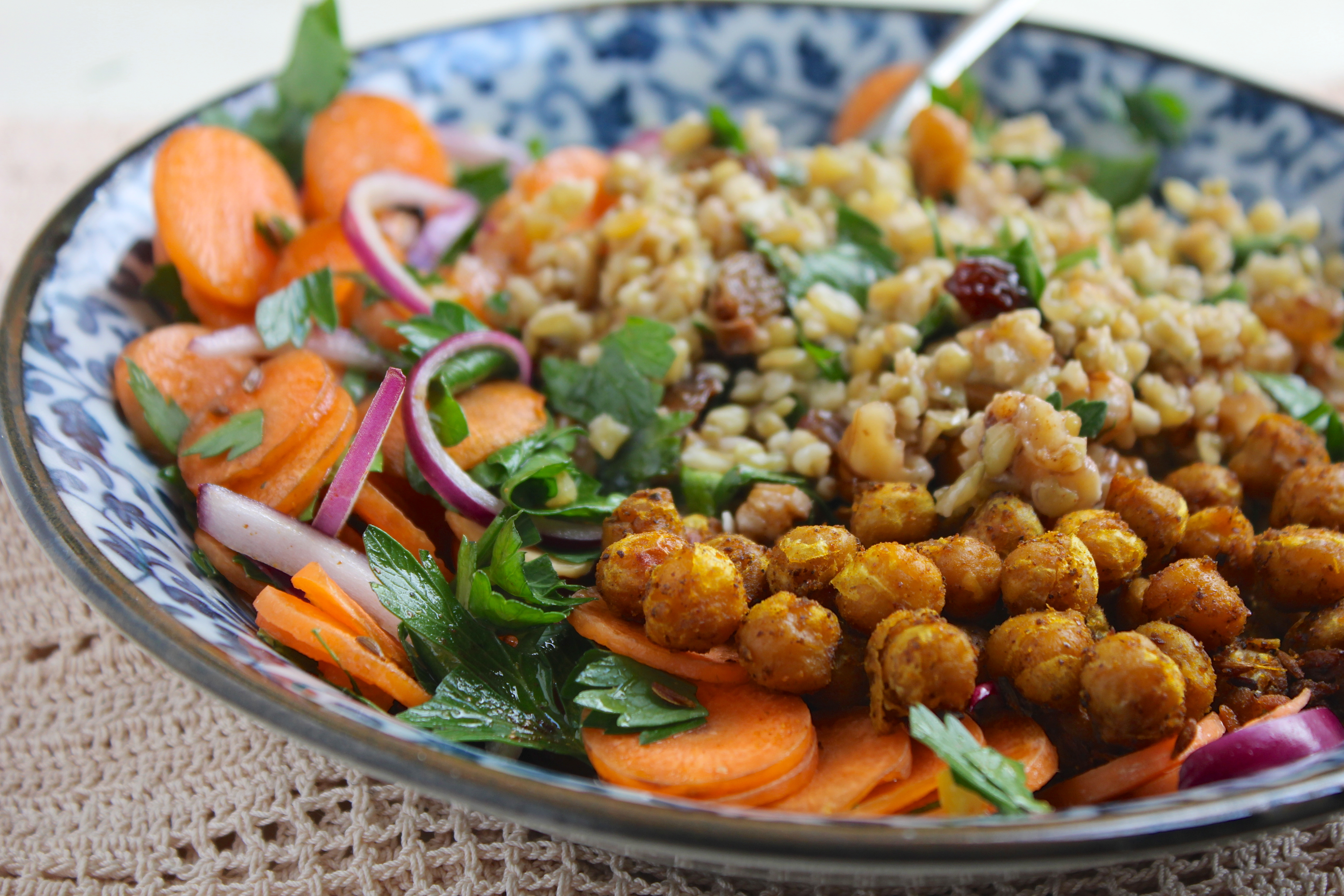 Spice-Roasted Chickpeas, Herbed Freekeh & Moroccan Carrot Salad