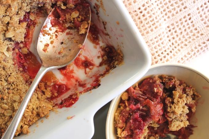 Rhubarb Rosewater Crumble