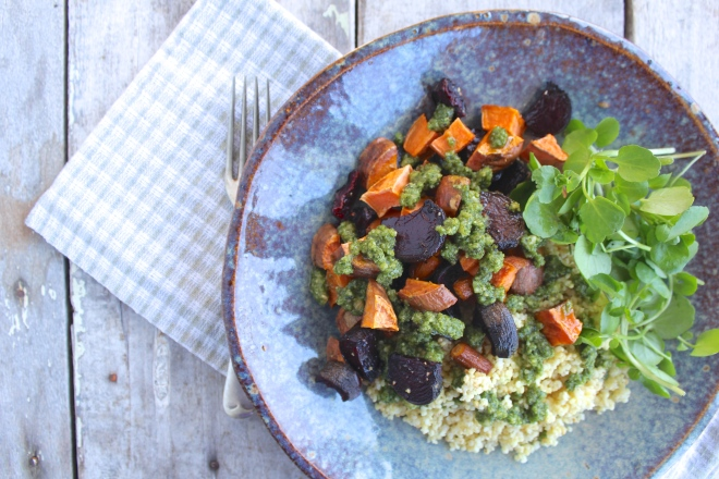 roast-veges-millet-tyme-lime-pesto-fork