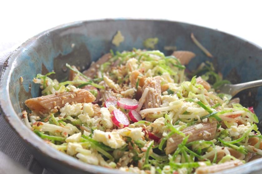 sprouts-radish-apple-pasta