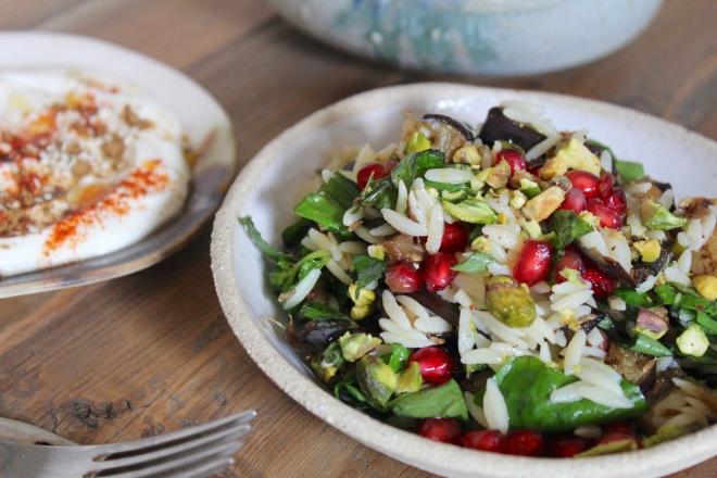 eggplant-orzo-salad-fork