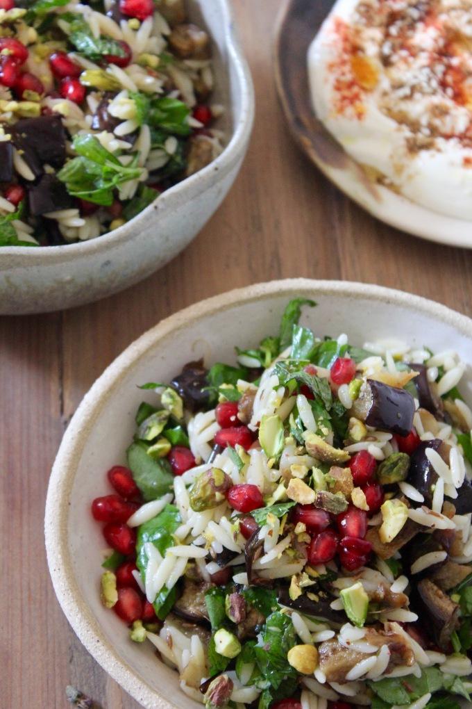 eggplant-orzo-salad-table