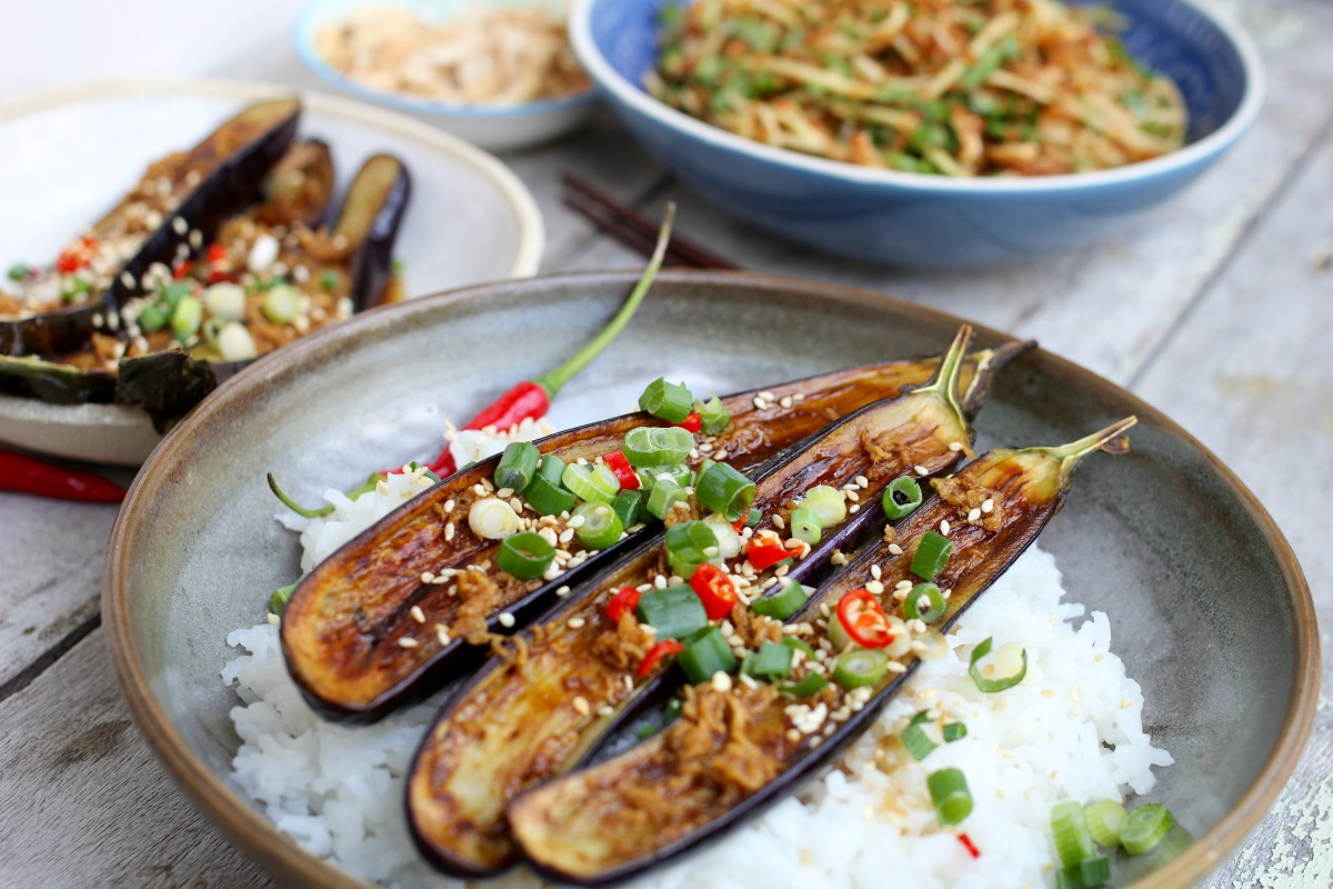 Grilled Eggplant with GingerDressing