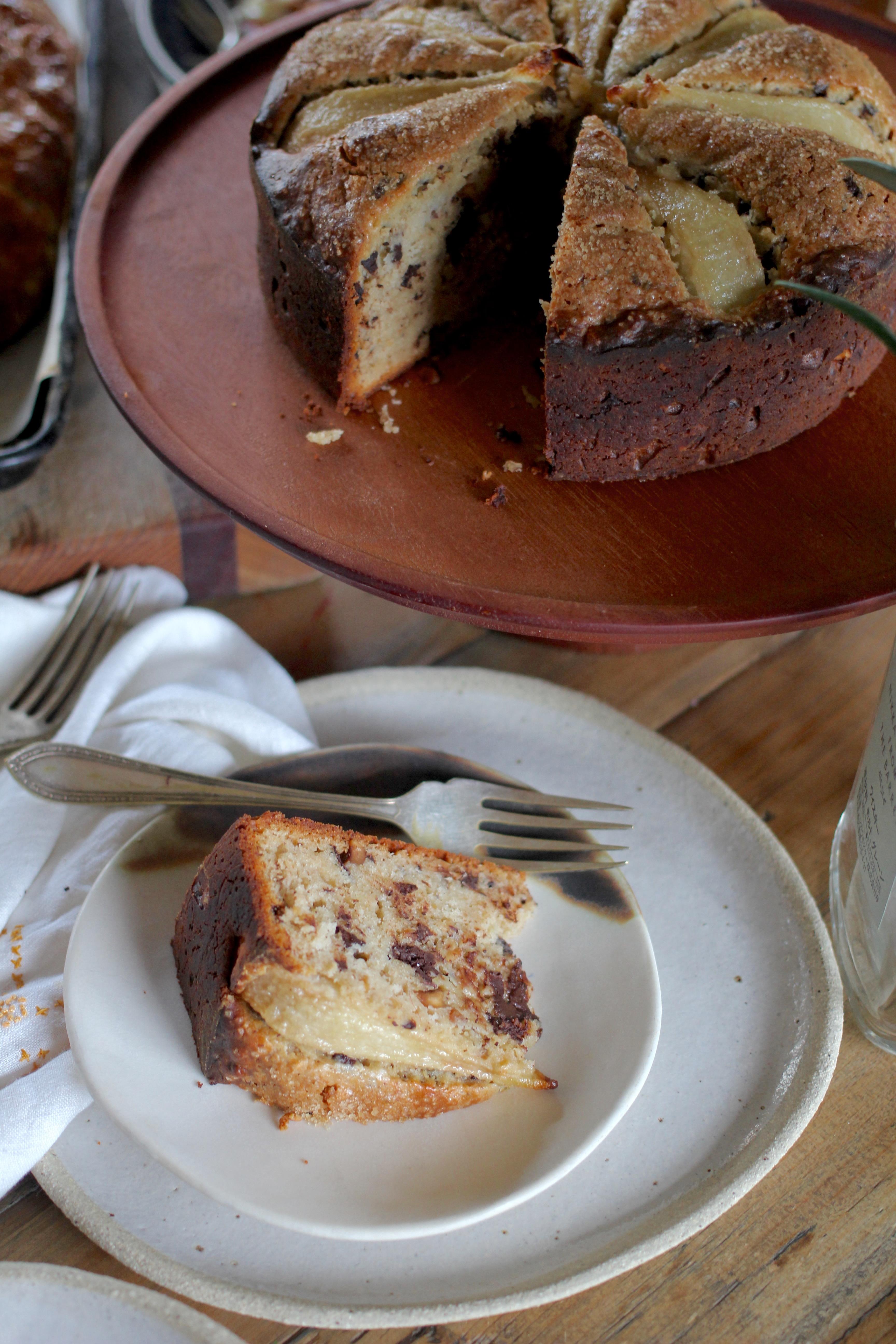 Pear Buckwheat Cake With Rosemary Dark Chocolate Amp Hazelnuts