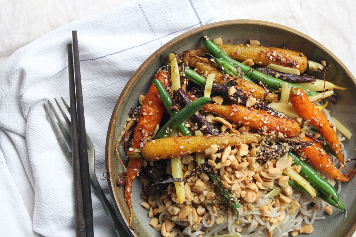 Miso-Roasted Carrots with Green Beans & SobaNoodles