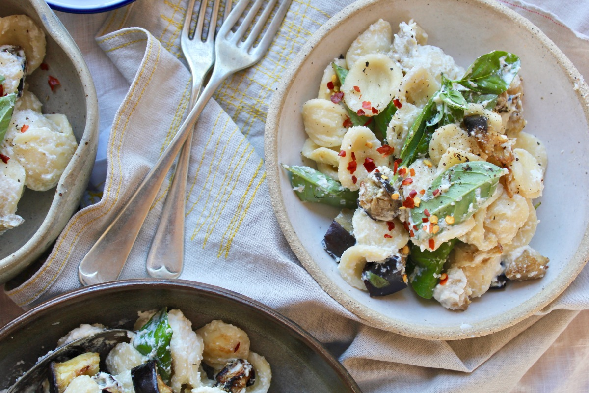 Orecchiette with Ricotta, Eggplant & Black Olives