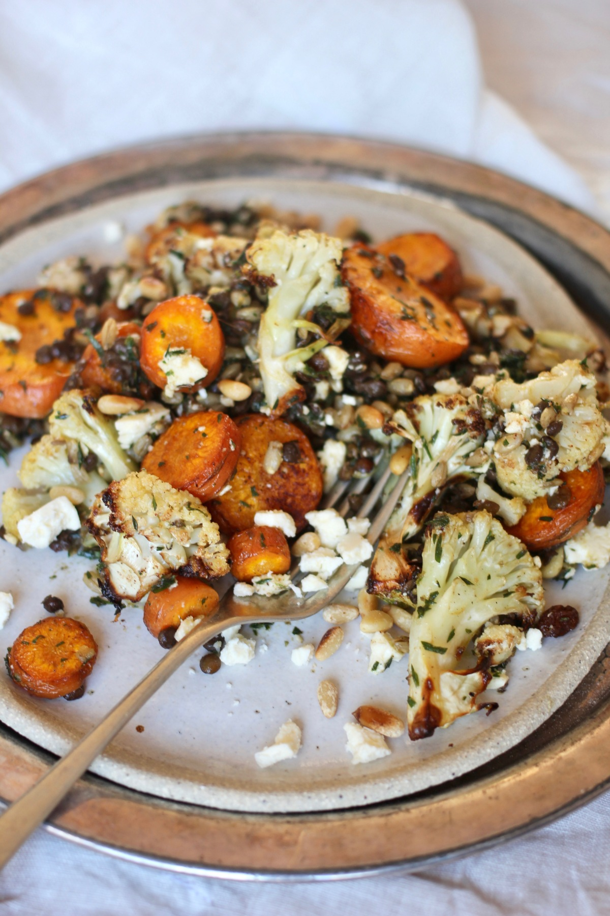 Roasted Carrot, Cauliflower & Black Lentil Salad