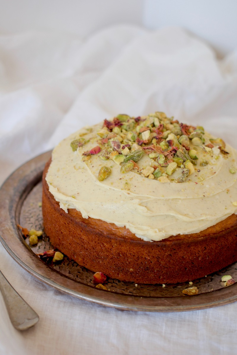 Pistachio & Rosewater Cake with Cardamom Frosting